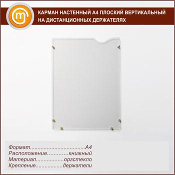 Карман настенный А3 плоский вертикальный на дистанционных держателях