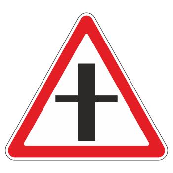 Дорожный знак 2.3.1 «Пересечение со второстепенной дорогой» (металл 0,8 мм, II типоразмер: сторона 900 мм, С/О пленка: тип А коммерческая)