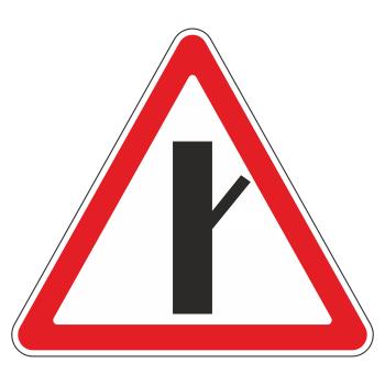 Дорожный знак 2.3.4 «Примыкание второстепенной дороги справа» (металл 0,8 мм, II типоразмер: сторона 900 мм, С/О пленка: тип А инженерная)