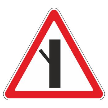 Дорожный знак 2.3.5 «Примыкание второстепенной дороги слева» (металл 0,8 мм, III типоразмер: сторона 1200 мм, С/О пленка: тип А инженерная)