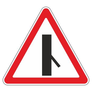 Дорожный знак 2.3.6 «Примыкание второстепенной дороги справа» (металл 0,8 мм, II типоразмер: сторона 900 мм, С/О пленка: тип А коммерческая)