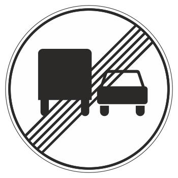 Дорожный знак 3.23 «Конец зоны запрещения обгона грузовым автомобилям» (металл 0,8 мм, I типоразмер: диаметр 600 мм, С/О пленка: тип А инженерная)