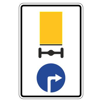 Дорожный знак 4.8.2 «Направление движения транспортных средств с опасными грузами» (металл 0,8 мм, I типоразмер: 900х600 мм, С/О пленка: тип А коммерческая)