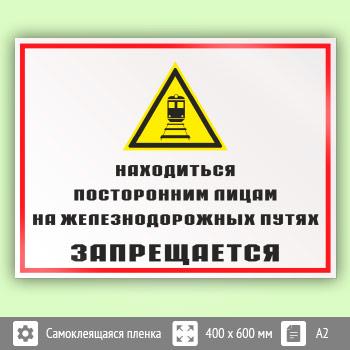 Знак «Находиться посторонним лицам на железнодорожных путях запрещается», КЗ-24 (пленка, 600х400 мм)
